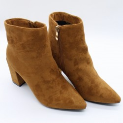 Suede booties with pointed toe