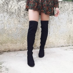 Suede boots over the knee