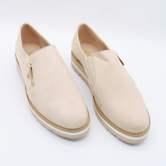 Double sole loafers with zipper