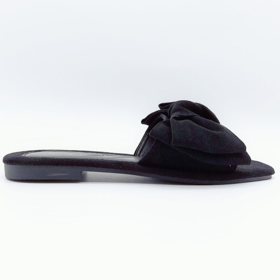 Suede slidders with bow