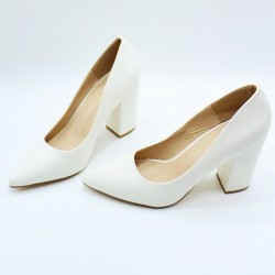 Leather like pointed toe heels.
