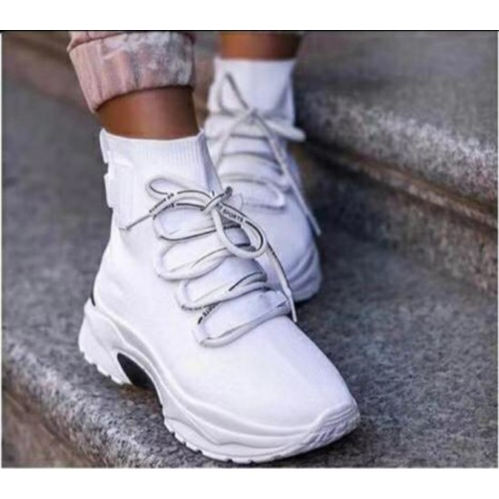 Sock fit sneakers with laces