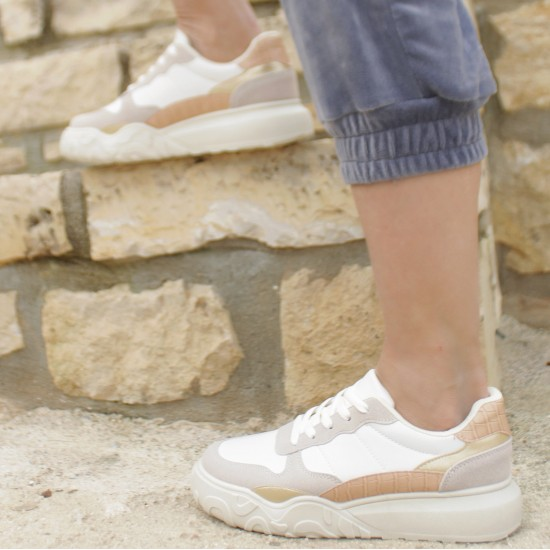 Sneakers with gold and croco details